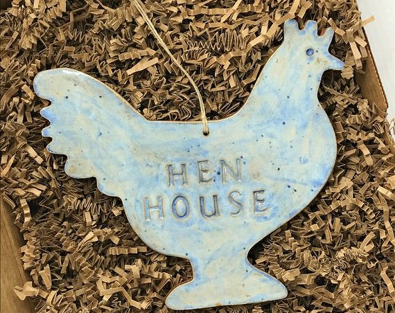 LARGE Hen House Rustic Chicken Redware Pottery Ornament ~ Ocean Blue ~