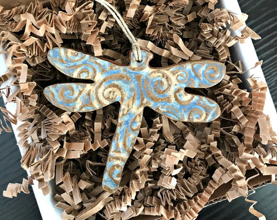 Rustic Dragonfly Redware Pottery Ornament in Nantucket Blue