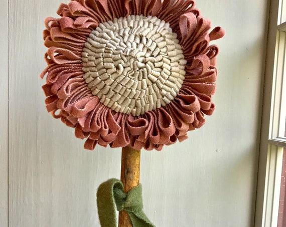 Primitive Wool Hooked Rug ~ Sunflower Make Do, Pink on Old Wooden Bobbin