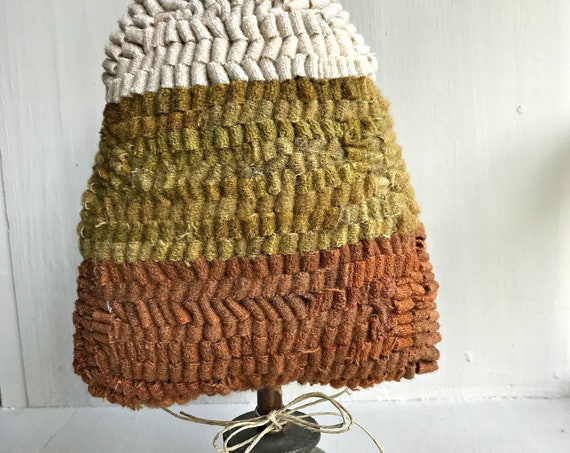 Primitive Folk Art ~ Halloween ~ Hooked Wool Rug Candy Corn Make Do on Antique Oil Can