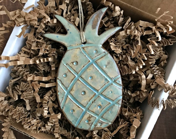 Rustic Pineapple Redware Pottery Ornament