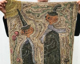 October Stroll ~ Rug Hooking Pattern on Linen