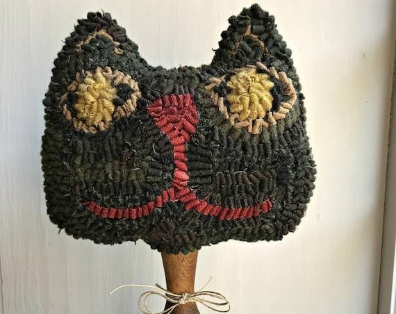 LIMITED EDITION ~ Rug Hooking Pattern Black Cat Make Do on Linen