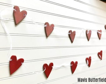 Rustic Redware Pottery ~ RED Hearts Banner ~ Garland ~ Perfect for Valentine's Day or a Birthday