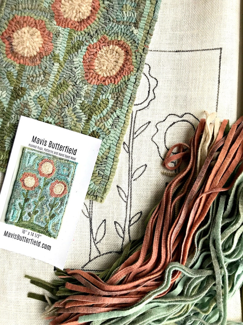RUG HOOKING KIT  Primitive Flowers on Linen with Hand Dyed image 0