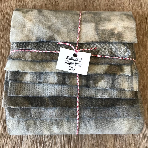 Hand Dyed Wool Fabric, Faded Nantucket Whale Blue Grey 8 Fat 1/16 Sixteenth Pieces for Primitive Rug Hooking