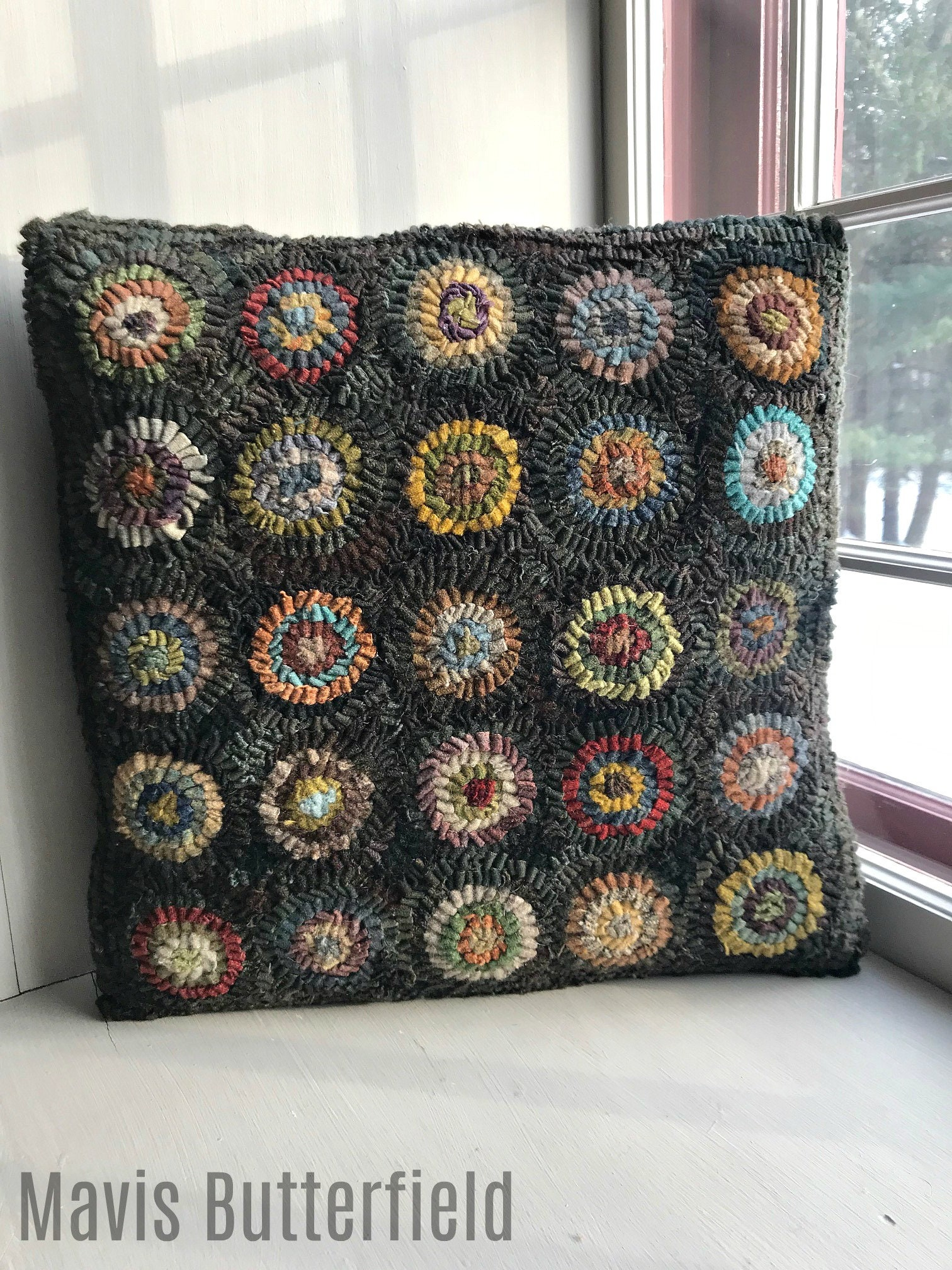 Primitive Folk Art Wool Hooked Penny Rug Pillow Sampler