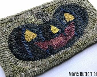 Primitive Halloween Folk Art Hooked Black Happy Jack Pumpkin Wool Rug