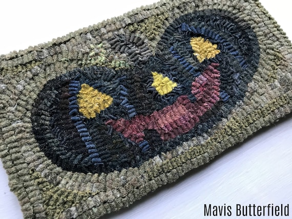 Primitive Halloween Folk Art Hooked Black Happy Jack Pumpkin Wool Rug