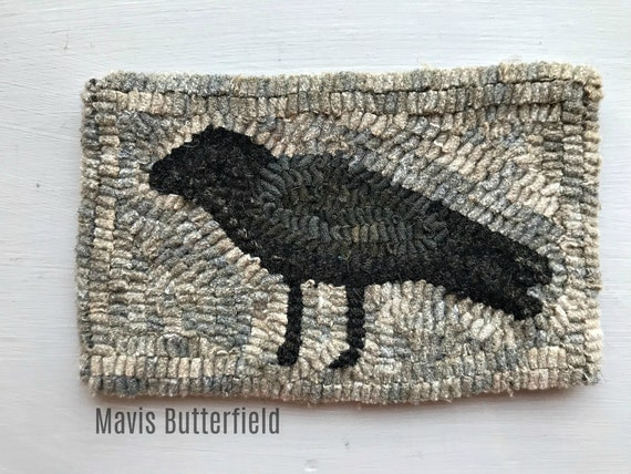 Primitive Folk Art Wool Hooked Rug Old Crow Early Style ~