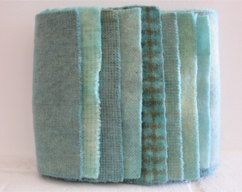 Hand Dyed Wool Fabric, 8 Sea Glass Blue Fat 1/16 Sixteenth for Primitive Rug Hooking