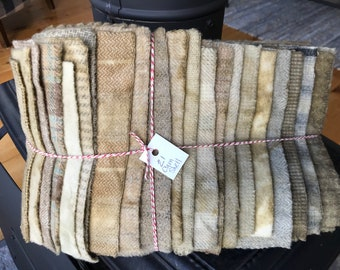 Hand Dyed Wool Fabric, 21 Clam Shell Fat 1/16 Sixteenth for Primitive Rug Hooking