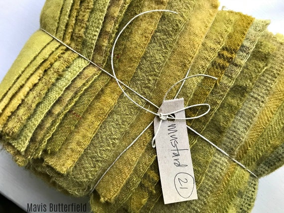 Hand Dyed Wool Fabric, 21 Mustard Fat 1/16 Sixteenth for Primitive Rug Hooking