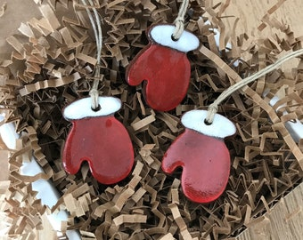 Set of 3 Mini Redware Red Mitten Pottery Ornaments ~ Primitive Folk Art