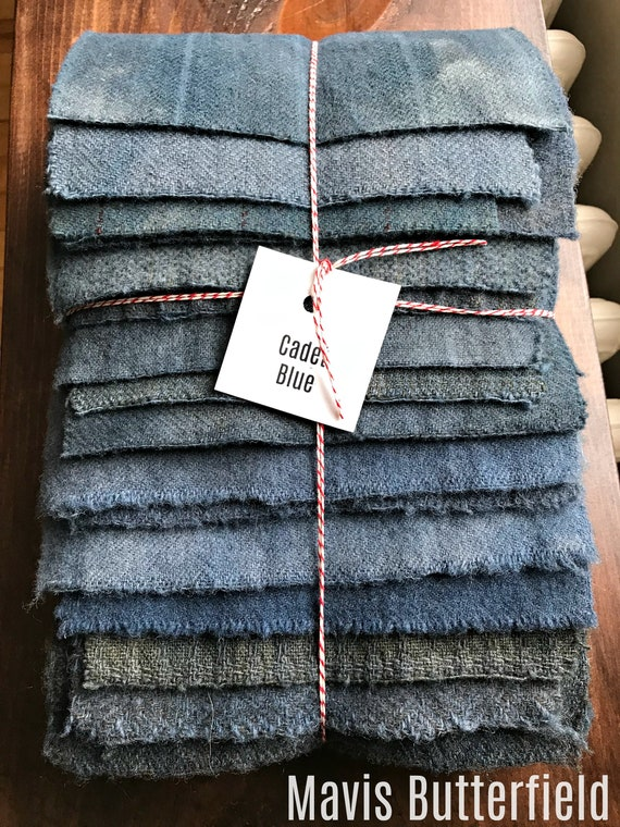 Hand Dyed Wool Fabric, 16 {Soft} Cadet Blue Fat 1/16 Sixteenth for Primitive Rug Hooking