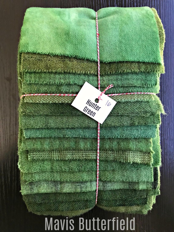 Hand Dyed Wool Fabric, 16 Hunter Green Fat 1/16 Sixteenth for Primitive Rug Hooking