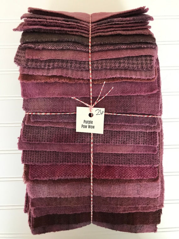 Hand Dyed Wool Fabric, 26 Purple POW WOW Fat 1/16 Sixteenth for Primitive Rug Hooking