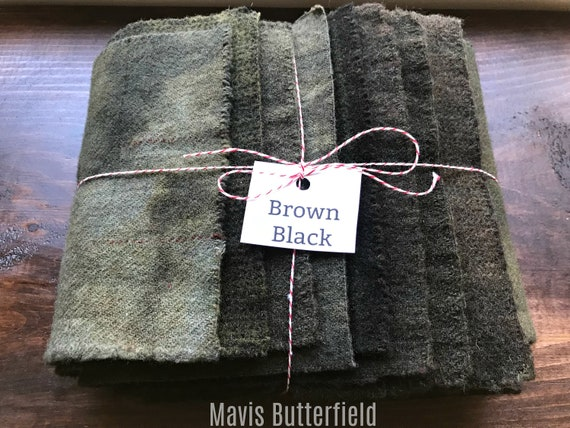 Hand Dyed Wool Fabric, 8 Brown Black Fat 1/16 Sixteenth for Primitive Rug Hooking