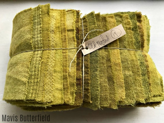 Hand Dyed Wool Fabric, 19 Old Mustard Fat 1/16 Sixteenth for Primitive Rug Hooking