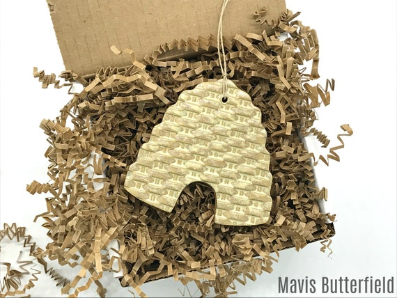 Rustic Bee Skep Beehive Redware Pottery Ornament