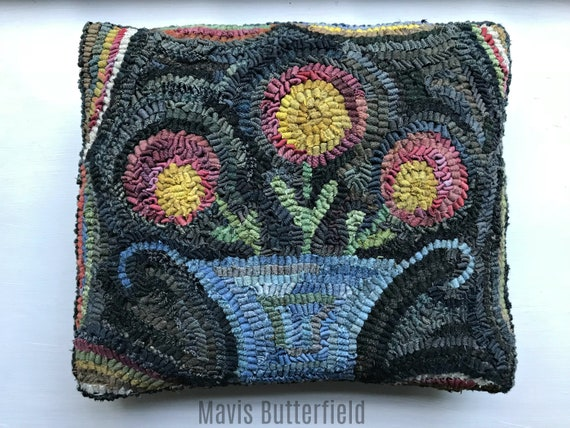 Folk Art Primitive Wool Hooked Rug Flower Basket Pillow