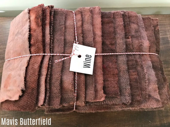 Hand Dyed Wool Fabric, 17 Wine Fat 1/16 Sixteenth for Primitive Rug Hooking