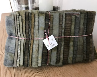 Hand Dyed Wool Fabric, 24 River Rock Fat 1/16 Sixteenths for Primitive Rug Hooking