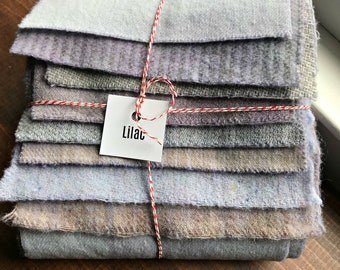 Hand Dyed Wool Fabric, 8 Lilac Fat 1/16th Sixteenths for Primitive Rug Hooking