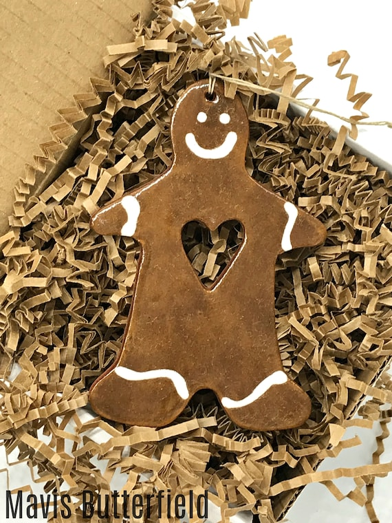 Rustic Gingerbread Man Redware Pottery Ornament