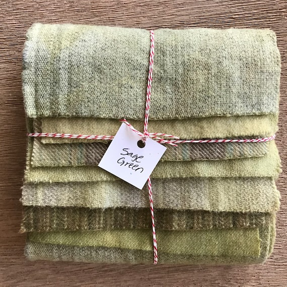 Hand Dyed Wool Fabric, 8 Light Sage Green Fat 1/16 Sixteenth for Primitive Rug Hooking