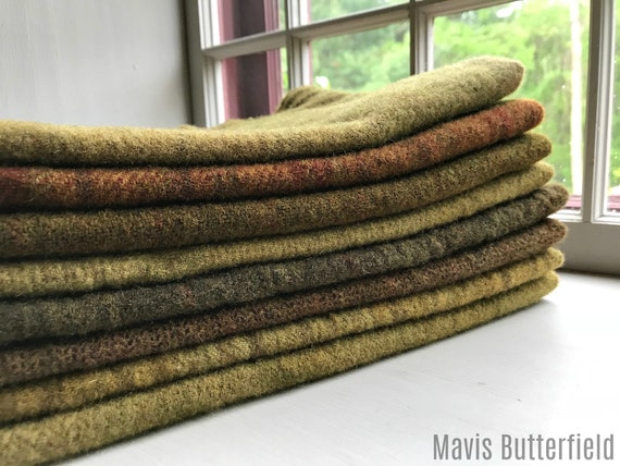 Hand Dyed Wool Fabric, 8 Forest Floor 1/4th Fat Quarters {2 Yards Total} for Primitive Rug Hooking