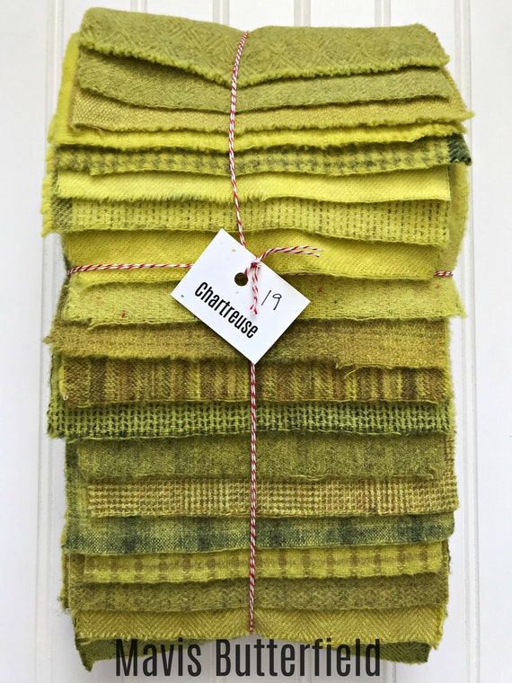 Hand Dyed Wool Fabric, 19 Chartreuse Fat 1/16 Sixteenth for Primitive Rug Hooking