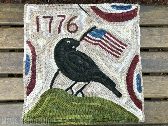 Folk Art Primitive Wool Hooked Rug Old Crow 1776 ~ Early Style ~