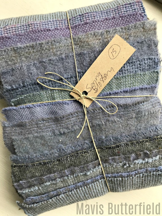 Hand Dyed Wool Fabric, 15 Spring Blossoms Purple Fat 1/16 Sixteenth for Primitive Rug Hooking