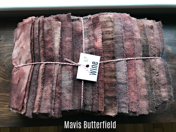 Hand Dyed Wool Fabric, 20 Wine Fat 1/16 Sixteenth for Primitive Rug Hooking
