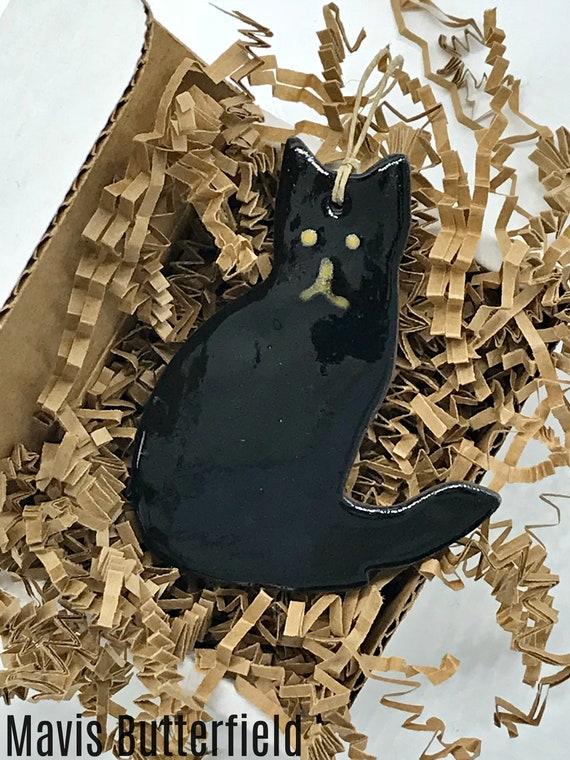 Rustic Black Cat Redware Pottery Ornament