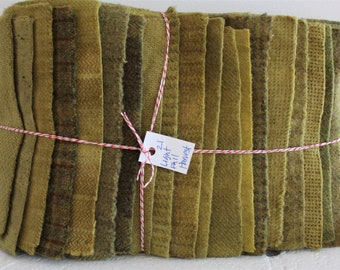 Hand Dyed Wool Fabric, 21 Fall Harvest Fat 1/16 Sixteenth Bundle for Primitive Rug Hooking