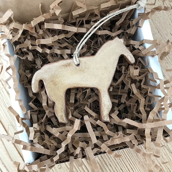 Rustic Tan / Light Brown Horse Redware Pottery Ornament