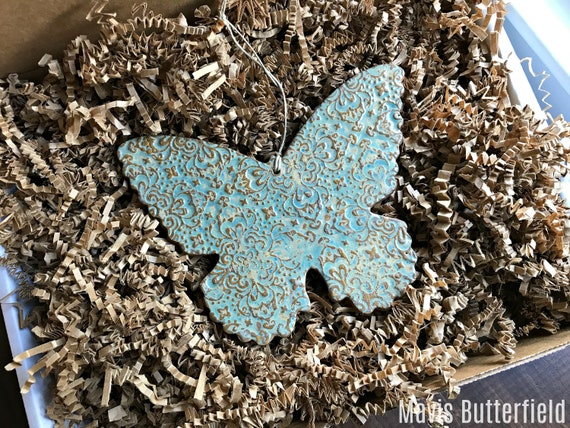 GIANT Rustic Butterfly Redware Pottery Ornament in Nantucket Blue