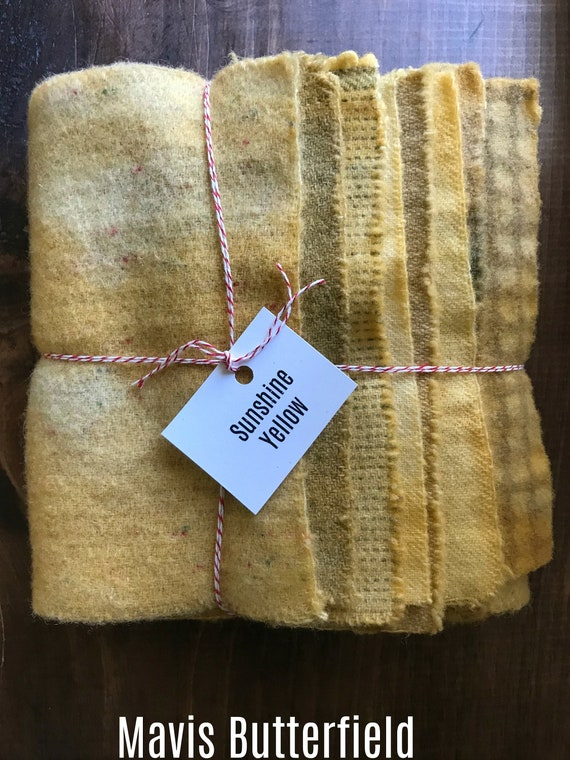 Hand Dyed Wool Fabric, 8 Sunshine Yellow Fat 1/16 Sixteenth Yards for Primitive Rug Hooking