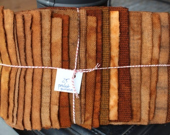 Hand Dyed Wool Fabric, 25 Perfect Pumpkin Fat 1/16 Sixteenth for Primitive Rug Hooking