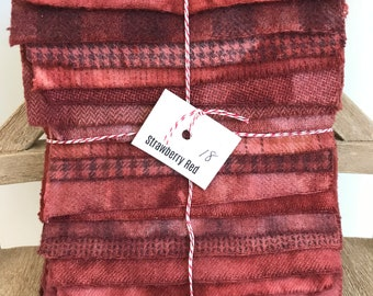 Hand Dyed Wool Fabric, 18 Strawberry Jam Red Fat Sixteenths {1/16} for Primitive Rug Hooking