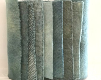 Hand Dyed Wool Fabric, 8 Baby Blue Fat 1/16 Sixteenth for Primitive Rug Hooking