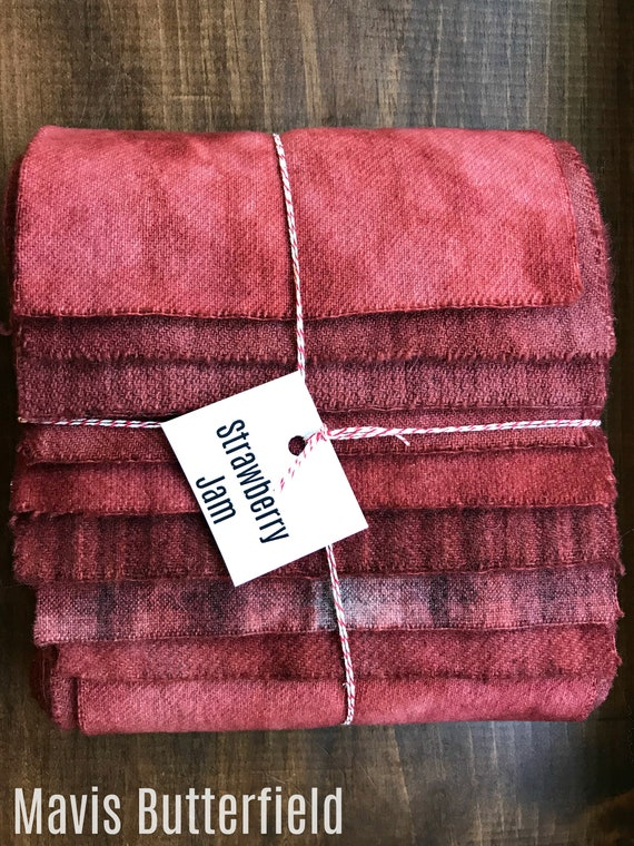 Hand Dyed Wool Fabric, 8 Strawberry Jam Red Fat Sixteenths {1/16} for Primitive Rug Hooking