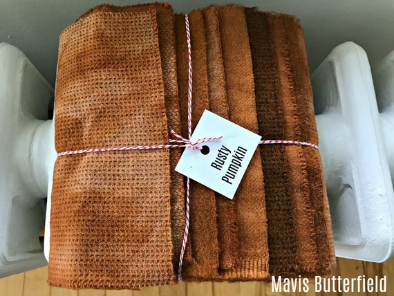 Hand Dyed Wool Fabric, 8 Rusty Pumpkin Fat 1/16 Sixteenth for Primitive Rug Hooking