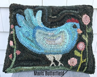 Folk Art Primitive Wool Hooked Rug Old Blue Chicken Pillow with Pink Flowers