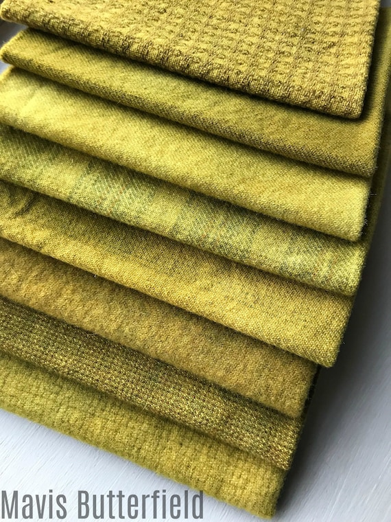 Hand Dyed Wool Fabric, 8 Spicy Brown Mustard Fat Eighths for Primitive Rug Hooking