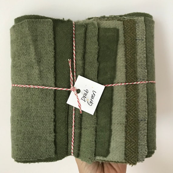 Hand Dyed Wool Fabric, 8 Drab Green Fat 1/16 Sixteenth for Primitive Rug Hooking