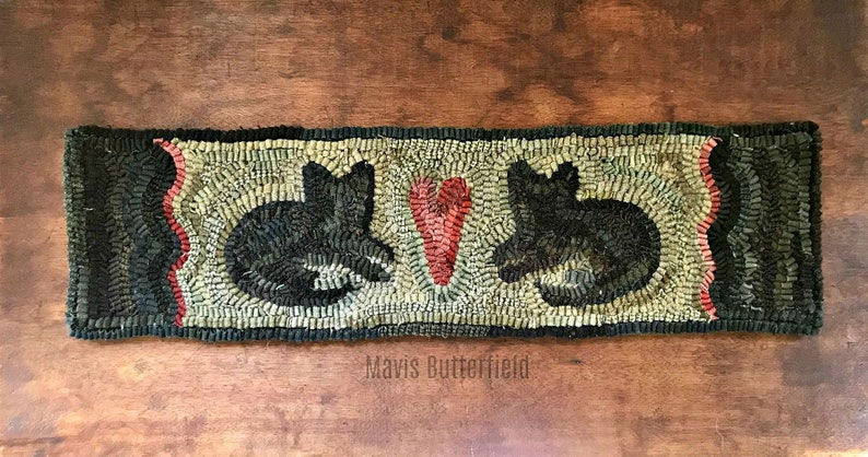 Rug Hooking Pattern 2 Fat Cats on Linen image 0