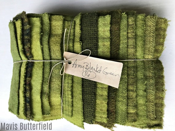 Hand Dyed Wool Fabric, 16 Army Blanket Green Fat 1/16 Sixteenth for Primitive Rug Hooking